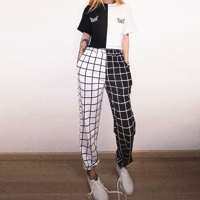 Trousers Cargo Pants - Black and White Checkerboard Patchwork