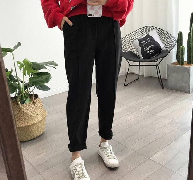 Pants - Pencil Wool Pants High Waist Loose Trousers