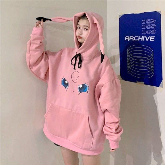 Hoodies - Thick Loose Sweatshirt Letters Printed Lovely Frog Casual Hooded