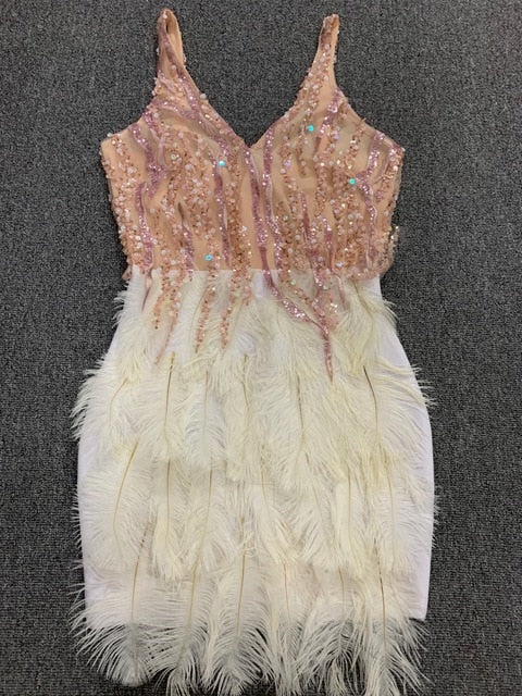 Dresses -Pink White Feathers Rayon Bandage Dress