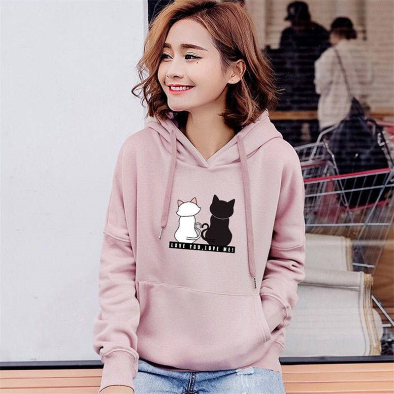 Hoodies -  Cute Cat Print Sweatshirt Women