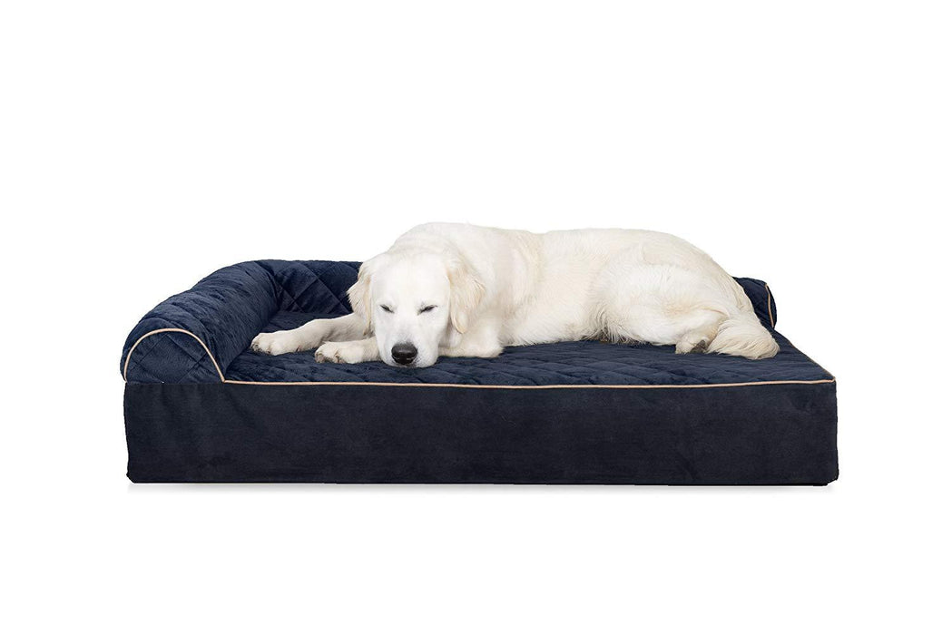 FurHaven Quilted Faux Fur & Velvet Goliath Deluxe L-Chaise Pet Bed