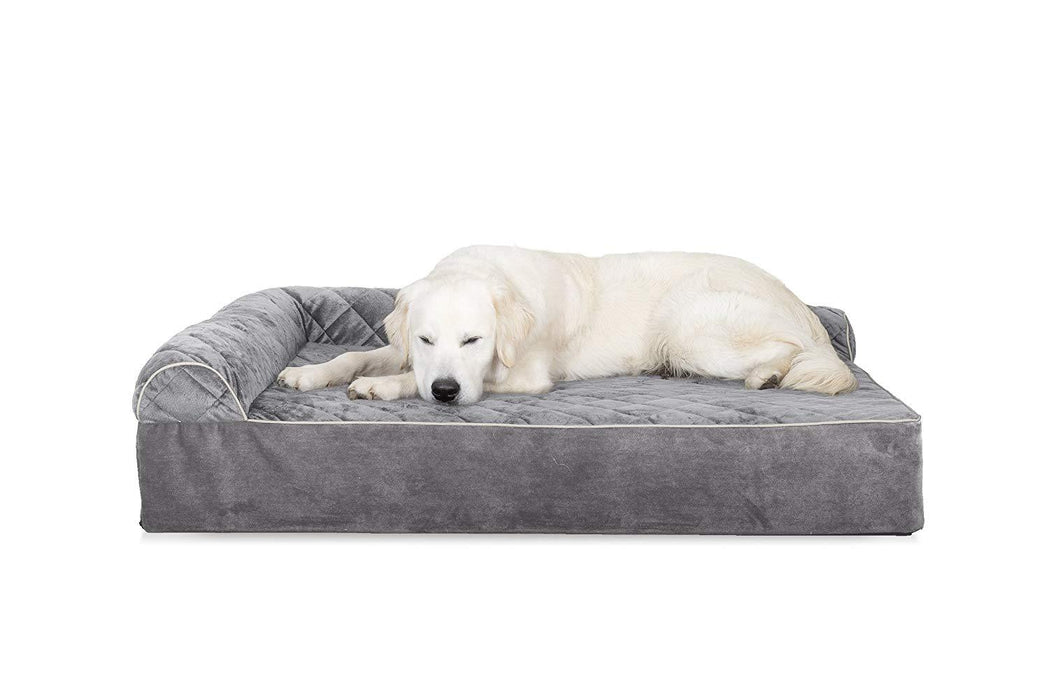 FurHaven Quilted Faux Fur & Velvet Goliath Chaise Pet Bed