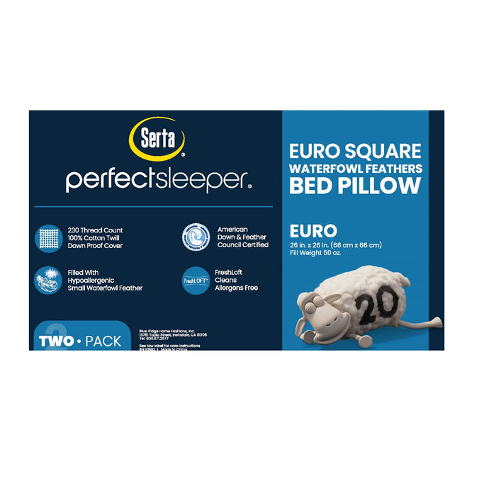2 Pack Serta Feather Euro Square Pillow