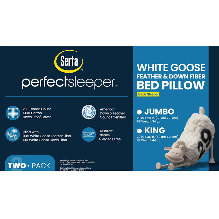 2 Pack Serta Back Sleeper White Goose Feather & Down Fiber Pillows
