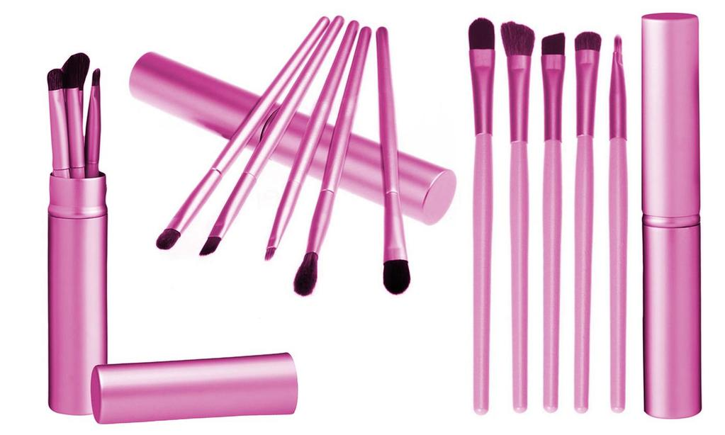 Eyeshadow Brush Set with Tin Cylinder (5-Pieces)