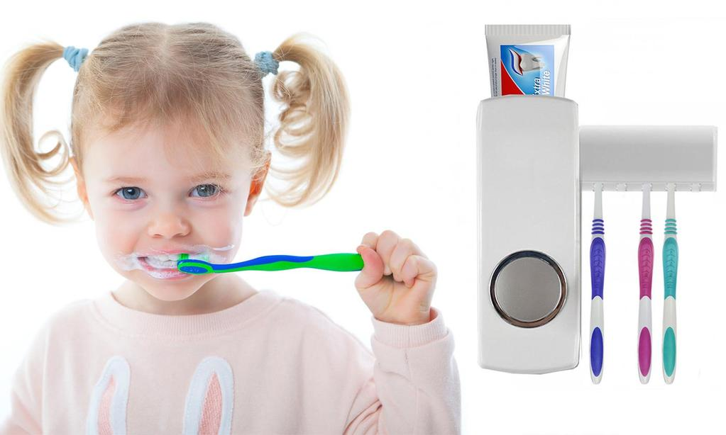 Wall-Mounted Toothpaste Dispenser and Toothbrush Holder