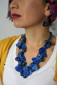 Latino Accessories Blue Tagua Chunky Necklace - The Bearded Gypsy Vintage Co.