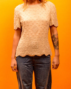 Embroidered Beaded Top - The Bearded Gypsy Vintage Co.