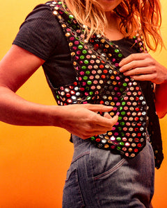 Rainbow Sequin Waistcoat - The Bearded Gypsy Vintage Co.