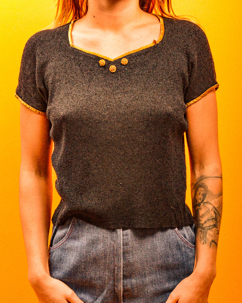 Olive Trim Top - The Bearded Gypsy Vintage Co.