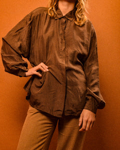 Classic Brown Silk Shirt - The Bearded Gypsy Vintage Co.