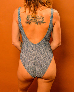 Blue ribbed 80's Swim - The Bearded Gypsy Vintage Co.