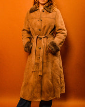 Load image into Gallery viewer, Sheepskin Fur Trim Coat - The Bearded Gypsy Vintage Co.