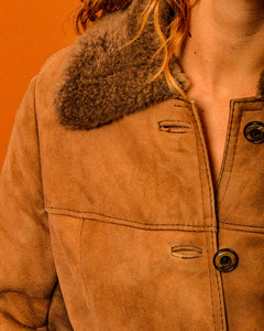 Sheepskin Fur Trim Coat - The Bearded Gypsy Vintage Co.