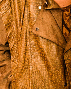 Suede and Snake Skin Leather Jacket - The Bearded Gypsy Vintage Co.