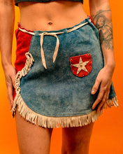 Load image into Gallery viewer, Americana Rodeo Suede Tassel Skirt - The Bearded Gypsy Vintage Co.