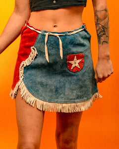 Americana Rodeo Suede Tassel Skirt - The Bearded Gypsy Vintage Co.
