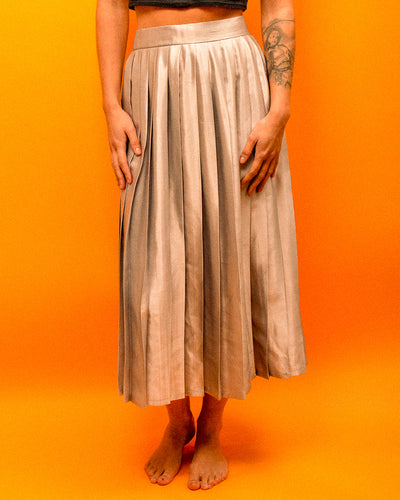 Silver Silk Pleated Skirt - The Bearded Gypsy Vintage Co.