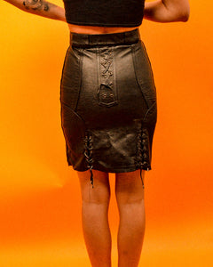 Lace me up Black Leather Skirt - The Bearded Gypsy Vintage Co.