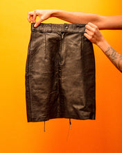Load image into Gallery viewer, Lace me up Black Leather Skirt - The Bearded Gypsy Vintage Co.