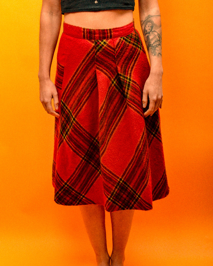 Tartan Soft Wool Skirt - The Bearded Gypsy Vintage Co.