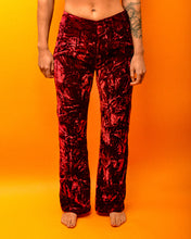 Load image into Gallery viewer, True 70's Crimson Velvet Flares - The Bearded Gypsy Vintage Co.