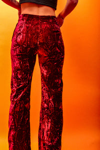 True 70's Crimson Velvet Flares - The Bearded Gypsy Vintage Co.