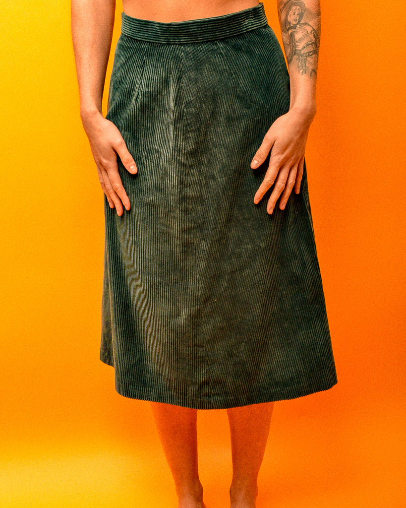 Corduroy Emerald Skirt - The Bearded Gypsy Vintage Co.