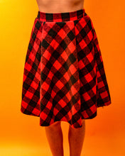Load image into Gallery viewer, Red & Black Circle Skirt - The Bearded Gypsy Vintage Co.