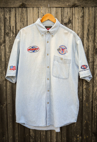 Wrangler Light Wash Denim Badge Shirt - The Bearded Gypsy Vintage Co.