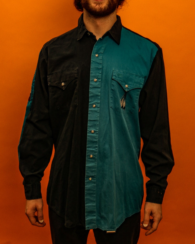 Western Blue Shirt - The Bearded Gypsy Vintage Co.