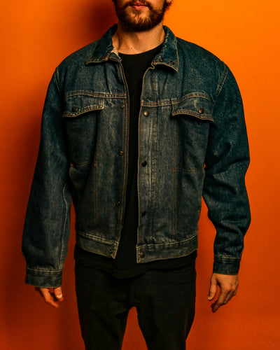 Fleece lined sherpa denim jacket - The Bearded Gypsy Vintage Co.