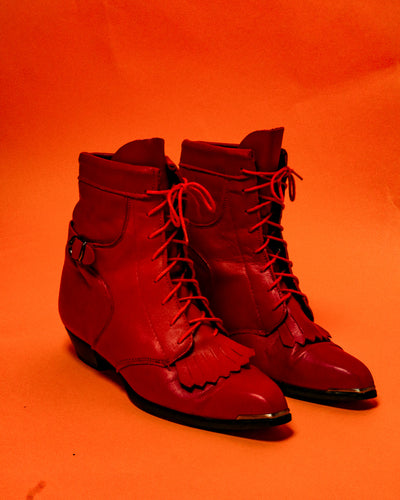 Deadstock Red Durango Roper Boots - The Bearded Gypsy Vintage Co.