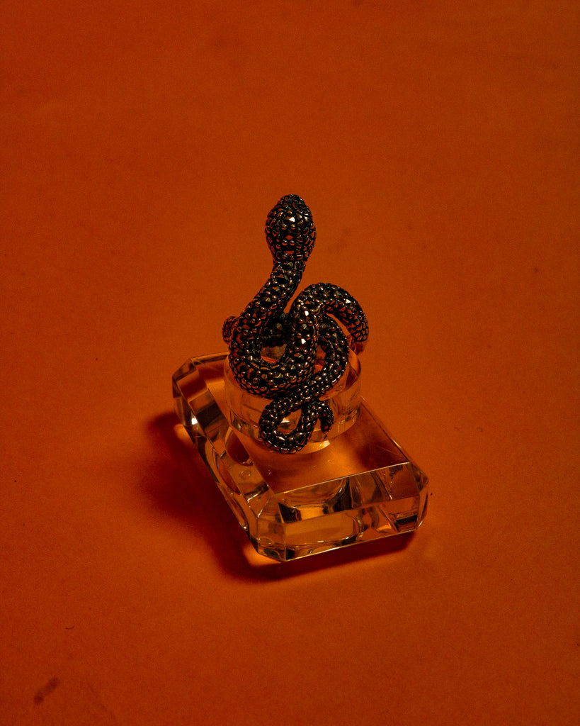 Silver Snake Serpent Ring - The Bearded Gypsy Vintage Co.