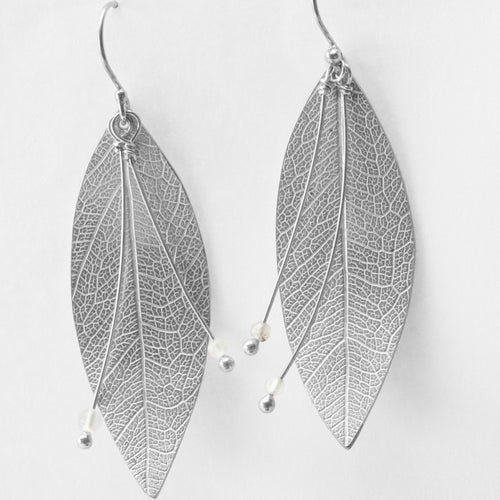 KT Jewellery Leaf sterling silver earrings - The Bearded Gypsy Vintage Co.