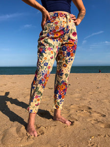Rare Vintage 90's Fiorucci Flower Power Capri Pants - The Bearded Gypsy Vintage Co.