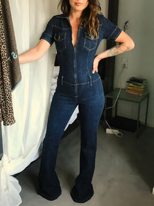 Blossom 70's Flared Denim Jumpsuit - The Bearded Gypsy Vintage Co.