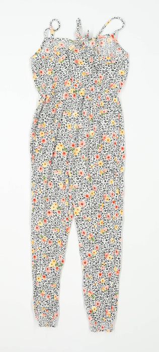 Primark Girls Animal Print Multi-Coloured Jumpsuit Age 8-9 Years