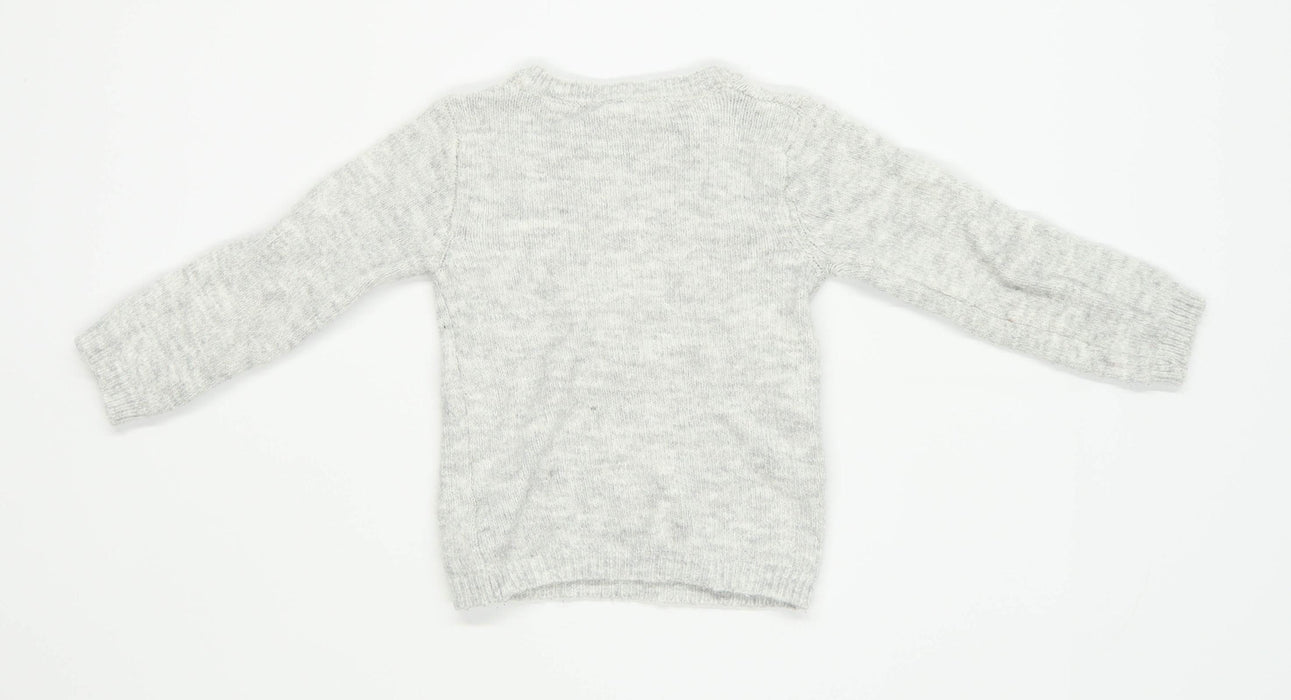 Primark Girls Textured Grey Sequined Jumper Age 4-5 Years