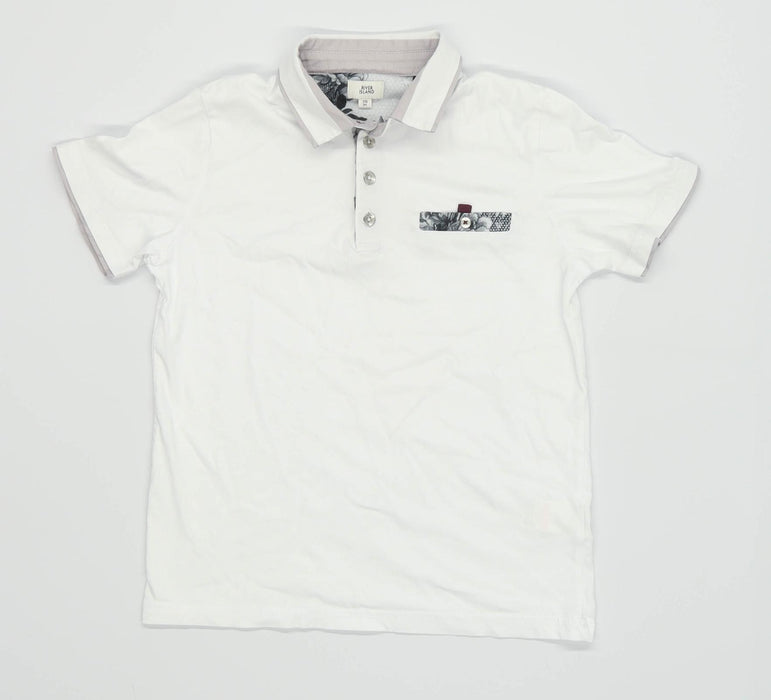 River Island Boys White Polo Shirt Age 7-8 Years