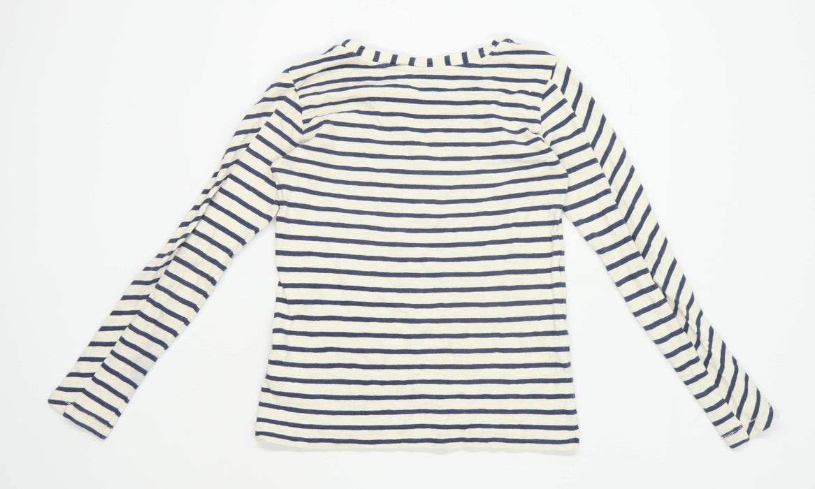 Topshop Womens Size 6 Striped Cotton Grey Top (Regular)