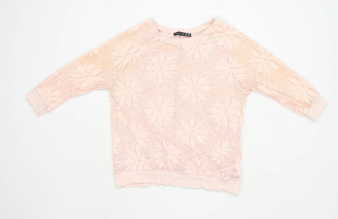 Primark Womens Size 8 Floral Pink Lace Top (Regular)