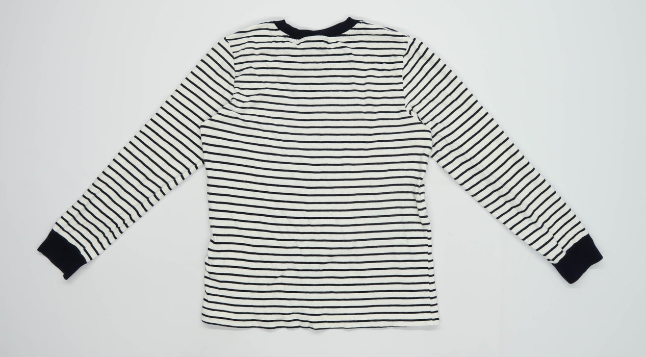 Topshop Womens Size 10 Striped Cotton White Top (Regular)