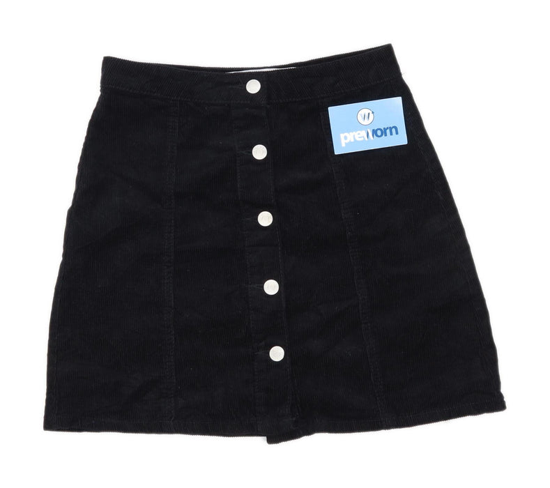 Denim Co Womens Size 8 Corduroy Black Skirt (Regular)