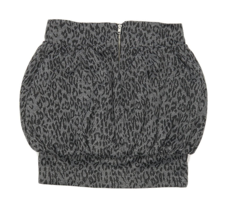 Atmosphere Womens Size 10 Cotton Blend Animal Print Grey Skirt (Regular)