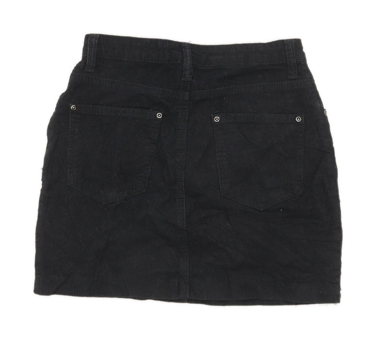 Boohoo Womens Size 8 Cotton Textured Black Skirt (Regular)