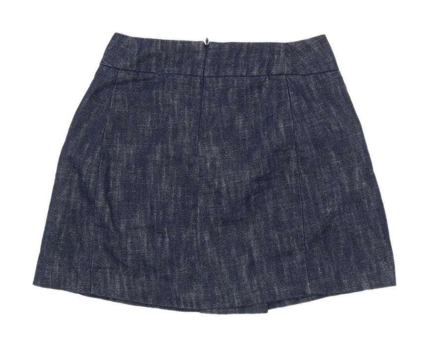 Mango Womens Size 8 Cotton Blend Blue Skirt (Regular)