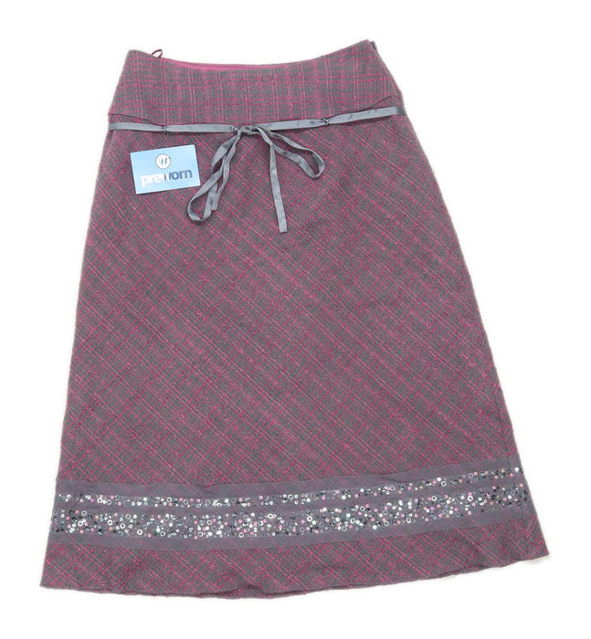Monsoon Womens Size 8 Wool Blend Textured Purple Skirt (Regular)