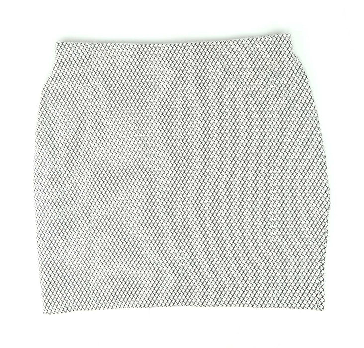 H&M Womens Size S Grey Geometric Cotton Blend Faux Wrap Skirt (Regular)